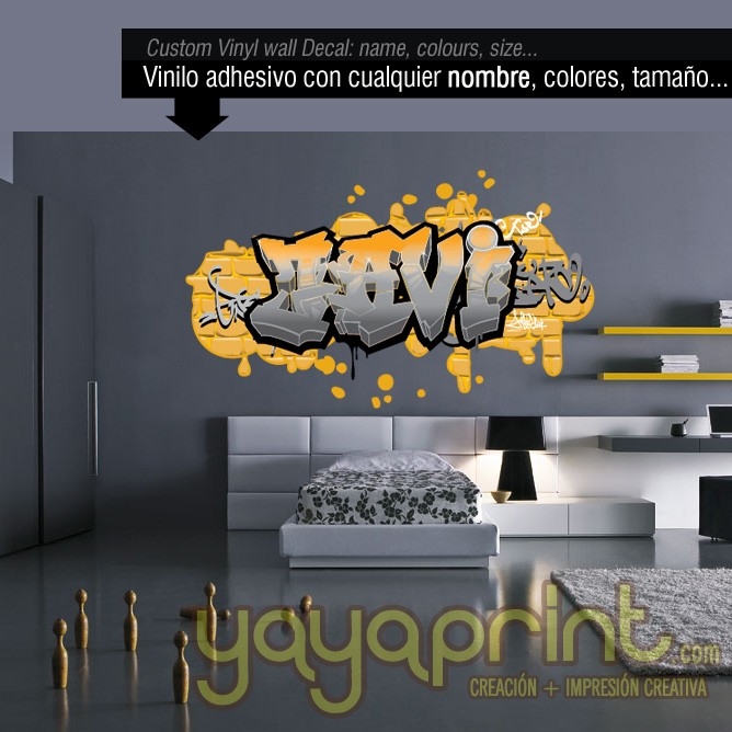 Children s wall decals and stickers tu nombre en graffiti - Graffitis en dormitorios ...