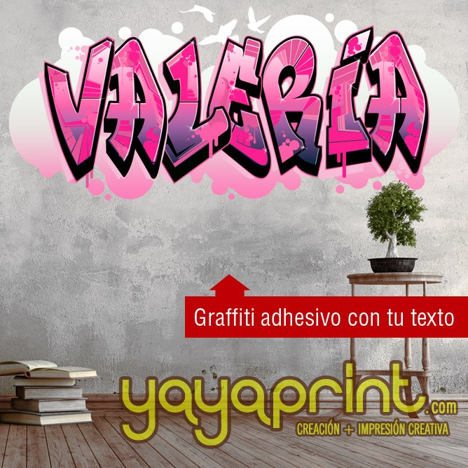 Children s wall decals and stickers tu nombre en graffiti for Graffitis para habitaciones