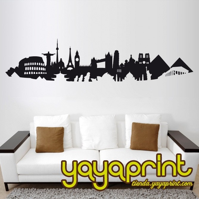 Children s wall decals and stickers skyline mundo postivo for Stickers para pared decorativos