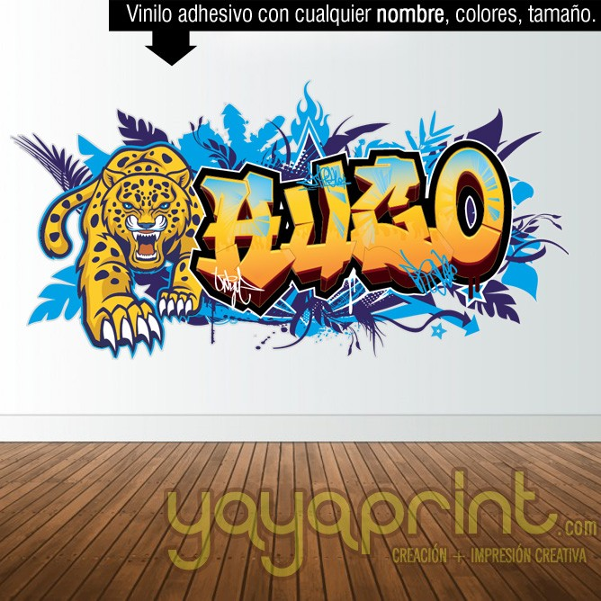 Graffiti de nombre vinilo felino tigre leopardo jaguar pantera guepardo decoración decorar pared dormitorio cuarto habitación infantil juvenil mural idea comic Yayaprint