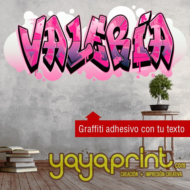 Graffitis valeria for Papel adhesivo pared barato