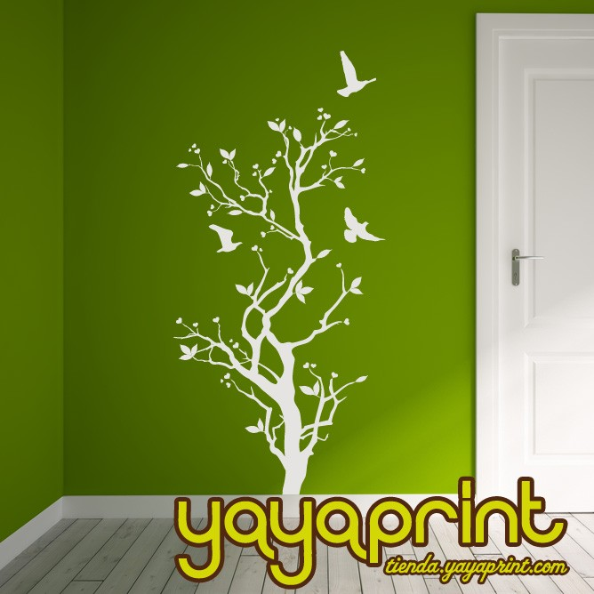 vinilo decorativo floral pared árbol Yayaprint.com