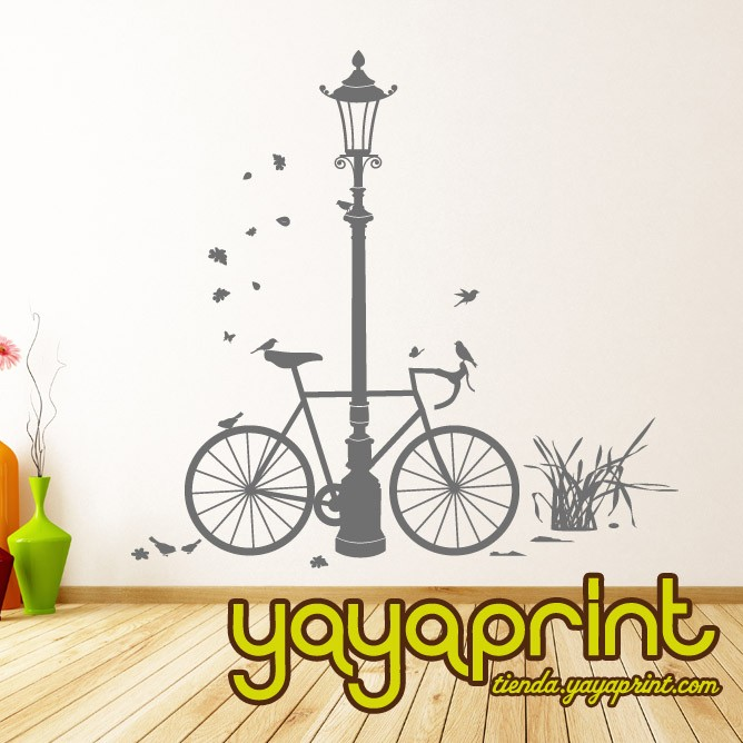 vinilo decorativo floral pared bici carreras yayaprint.com
