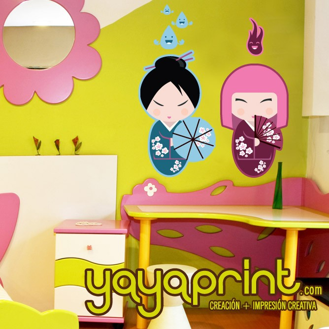 muñecas japonesas vinilo decorativo pared