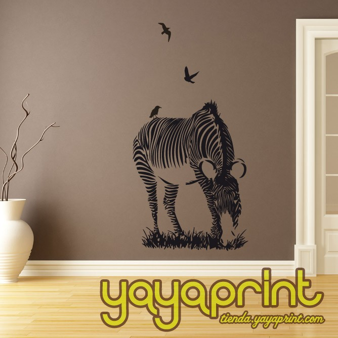 Vinilo decorativo pared zebra floral Yayaprint
