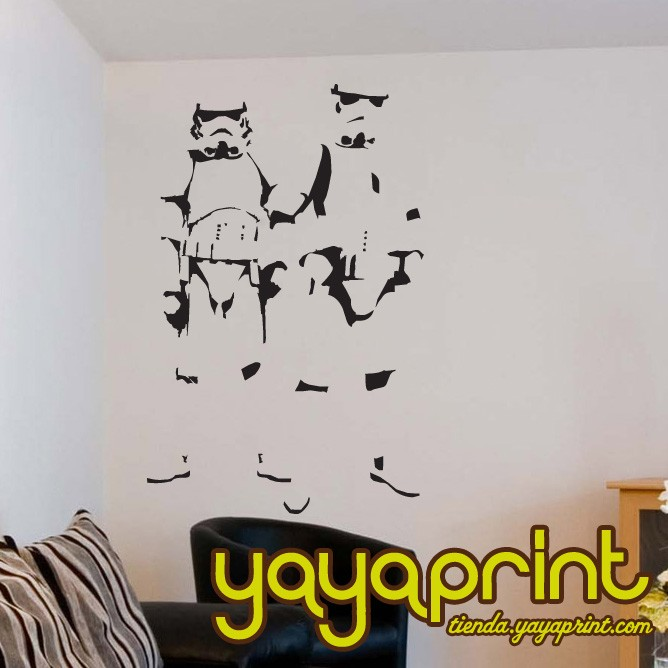 vinilo decorativo darth vader banksy homenaje star wars decoracin decorar habitacin dormitorio cuarto saln juvenil infantil