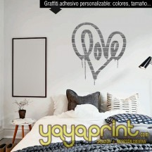 Graffiti vinilo personalizable decoración habitación LOVE espray 2