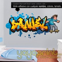 Graffiti de tu nombre en vinilo 24 con Skater