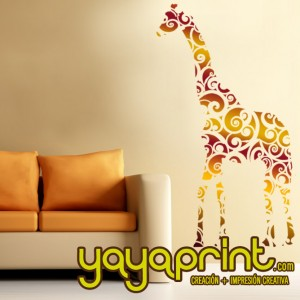 vinilo decorativo pared jirafa floral yayaprint