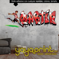 Grafiti nombre Futbol vinilo decorativo adhesivo vinilo decorativo adhesivo para pegar en pared barato papel decorado, vinilos sticker calcomanias decoración habitación decorar cuarto dormitorio cuna. Pegatina Calcomania, mural graffiti Ideas tendencias D