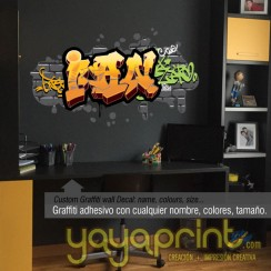 Graffiti nombre Ian decoración decorar pared dormitorio cuarto habitación infantil juvenil mural idea Yayaprint