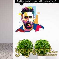 Graffiti vinilo mural Barcelona Messi decorar pared decoración habitación chico juvenil moderna arte urbano Yayaprint