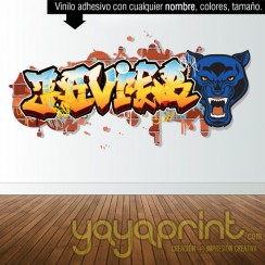 Graffiti de nombre felino tigre leopardo jaguar pantera guepardo decoración decorar pared dormitorio cuarto habitación infantil juvenil mural idea comic Yayaprint