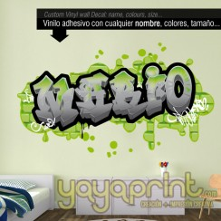 Graffiti nombre Mario decoración decorar pared dormitorio cuarto habitación infantil juvenil mural idea Yayaprint