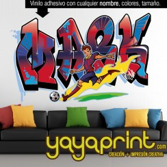 Graffiti nombre Mark personalizado Barcelona futbol Barsa Messi Futbol vinilo decorativo adhesivo pegar pared sticker calcomanias decoración habitación decorar cuarto dormitorio Pegatina Calcomania, mural Yayaprint