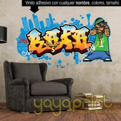 Graffiti de nombre Rafa decoración decorar pared dormitorio cuarto habitación infantil juvenil mural idea hip hop rap rapper pitbull arte urbano Yayaprint