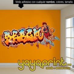Graffiti de nombre mural decoración decorar pared dormitorio cuarto habitación infantil juvenil idea Madrid Barcelona País Vasco Yayaprint