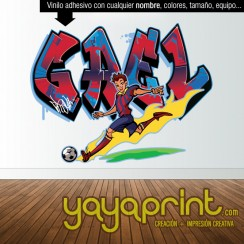 Graffiti nombre personalizado Barcelona Barsa Messi Futbol vinilo decorativo adhesivo pegar pared sticker calcomanias decoración habitación decorar cuarto dormitorio Pegatina Calcomania, mural Yayaprint