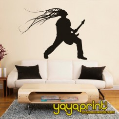 vinilo decorativo pared guitarrista guitarra pelos al viento heavy rock