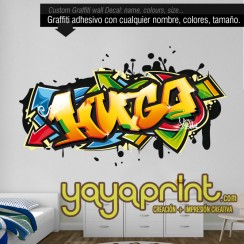 graffiti nombre Hugo adhesivo decoración Yayaprint.com