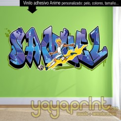 Graffiti nombre personalizado Futbol vinilo decorativo adhesivo pegar pared barato papel decorado sticker calcomanias decoración habitación decorar cuarto dormitorio Pegatina Calcomania, mural