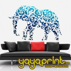 vinilo decorativo pared elefante floral yayaprint