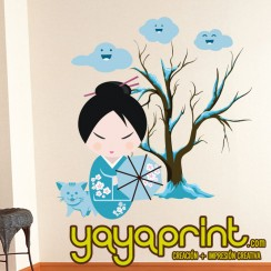 Muñecas japonesas vinilo decorativo pared. Yayaprint.com