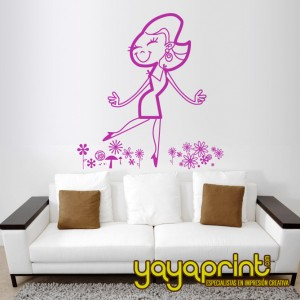 Chica retro cartoon flores
