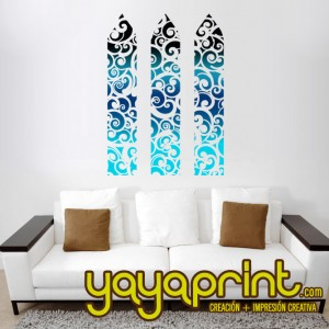 Vinilo decorativo pared ventana floral yayaprint