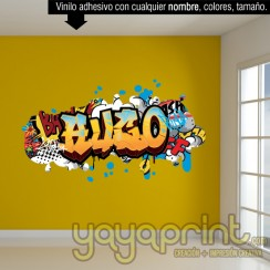 Graffiti de nombre decoración decorar pared dormitorio cuarto habitación infantil juvenil mural idea comic tebeo viñeta Arte Pop Yayaprint
