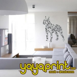 Vinilo decorativo pared perro floral yayaprint