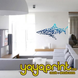 vinilo decorativo pared tiburón floral yayaprint