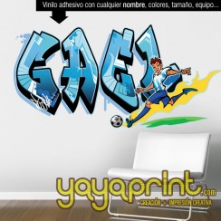 Graffiti nombre personalizado Futbol vinilo decorativo adhesivo pegar pared barato papel decorado sticker calcomanias decoración habitación decorar cuarto dormitorio Pegatina Calcomania, mural Ideas tendencias Yayaprint