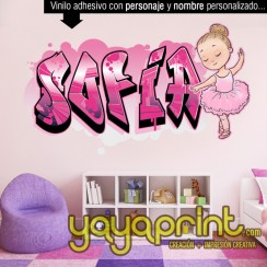 Graffiti nombre ballet bailarina ballerina vinilo decorativo adhesivo pegar pared barato papel decorado, vinilos sticker calcomanias decoración habitación decorar cuarto dormitorio cuna. Pegatina Calcomania, mural Ideas tendencias Decoración Yayaprint